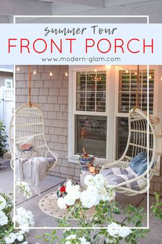 Come Tour my Summer Home. My Summer Front Porch Tour. Summer Front Porches, Summer Porch, Home Decor Trends, Home Decor Inspiration, Decor Ideas, Outdoor Rooms, Outdoor Living, Porch Paint, Porch Flooring