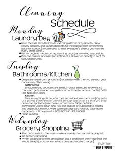 Weekly Cleaning Schedule. Tackle the big and small projects and stay sane!- Party Like a Cherry