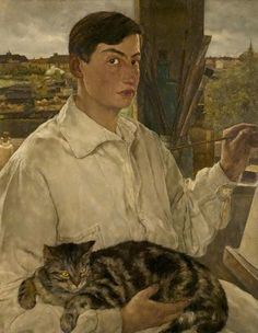 Self Portrait while painting with a Cat, Lotte Laserstein. 1928.    I can't imagine painting with my cat on my lap...