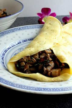 Swiss Pancake filled with mushrooms and eggplants
