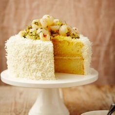 Coconut Lime Cake with Lime Curd and Cream Cheese Frosting, Lychees and Passion Fruit