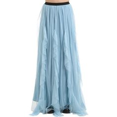 Antonio Marras Women Ruffled Tulle Long Skirt ($1,060) ❤ liked on Polyvore featuring skirts, sky blue, blue maxi skirt, maxi skirts, elastic waist maxi skirt, elastic waist long skirts and tulle maxi skirts