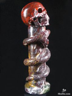 Skullis.com A Crystal Skull a Day: July 11, 2014: The Staff of Wadjet - Chinese Bloodstone Carved Crystal Skull and Snake Sculpture