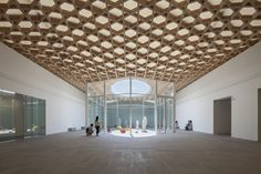 Image 5 of 11 from gallery of Oita Prefectural Art Museum / Shigeru Ban Architects. Photograph by Hiroyuki Hirai Shigeru Ban, Oita, Architecture Design, Timber Architecture, Japan Architecture, Canopy Architecture, Ancient Architecture, Sustainable Architecture, Sustainable Design