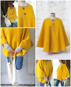 Couture : Tutos capes et ponchos – Best Pins Live Sewing Clothes, Diy Clothes, Dress Sewing, Clothing Patterns, Dress Patterns, Sewing Patterns, Diy Fashion, Ideias Fashion, Diy Cape