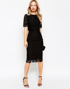 ASOS Lace Crop Top Midi Pencil Dress