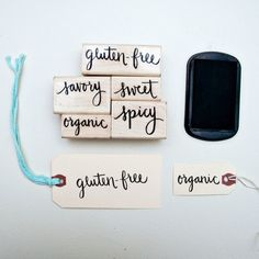 Cute handmade tags to label food at a party
