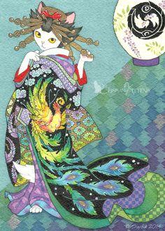 Japanese painting Ukiyoe style Phoenix Uchikake by BlissAndKittens Canadian Cat, Asian Cat, Renaissance, Japanese Cat, Japanese Kimono, Gatos Cats, Miss Kitty, Neko Cat, Japanese Painting