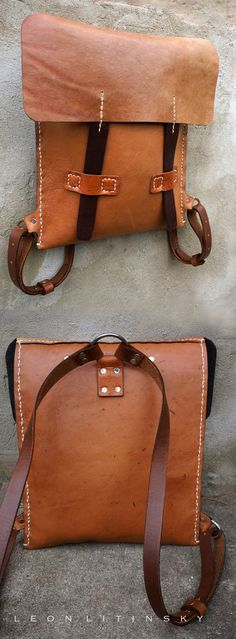 Leather Backpack.  Various recycle Leather with wool lining.  By Leon Litinsky.