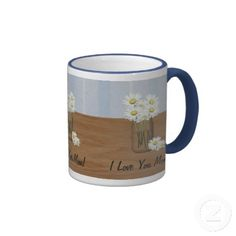 Mason Jar Of Daisies Mother's Day Mug by Mousefxart.com (Mouse Country) #Mothersday #mom #mugs