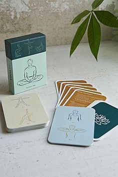 Yoga Positions Card Set - pick one each morning to focus and gain energy before you start your day and one each night to de-stress and relax.