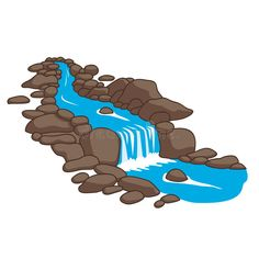 Illustration about Blue river flowing down stream across a stones. Isolated on white background. Illustration of pond, cartoon, blue - 77624072 Rock Clipart, Cartoon Drawings, Art Drawings, River Drawing, Dyi Painting, World Map Tattoos, Frame Border Design, Cute Asian Babies, Topper