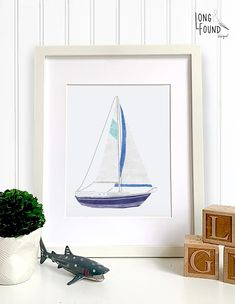 Sailboat Nursery, Coastal Nursery, Sailboat Art, Nautical Nursery Decor, Baby Wall Art, Art Wall Kids, Art For Kids, Nursery Design, Baby Design