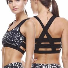 NWT || Black Print Cagged Sports Bra This medium impact sports bra features an abstract print design with a cross and caged back. Available in Small, Medium and Large.  Fabric 81% NYLON 19% SPANDEX Boutique Tops Crop Tops
