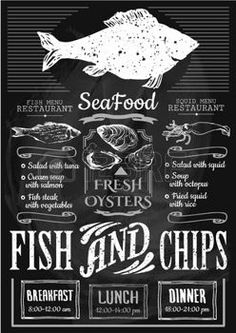 seafood fresh: Menu for fish restaurant or bar with a picture of the fish on a blackboard. Simple drawn sketch in vector format. Illustration
