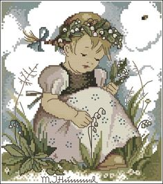 GIRL PICKING BOUQUET OF LILLY OF THE VALLEY  (I believe this to be a cross stitch piece...very nice..)