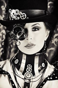 Fantastic black and white steampunk beauty. #SteamPUNK ☮k☮