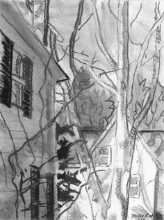 """Philip Koch, Edward Hopper's House, Nyack, vine charcoal, 9 x 12"""", 2016. I did this drawing last week when I spent several days in Hopper's hometown painting. The drawing will be available in the Edward Hopper House Art Center's May 1 benefit auction."""