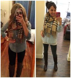 Pinterest told me to wear my MUST HAVE leggings with a denim shirt and this scarf!  #nailedit