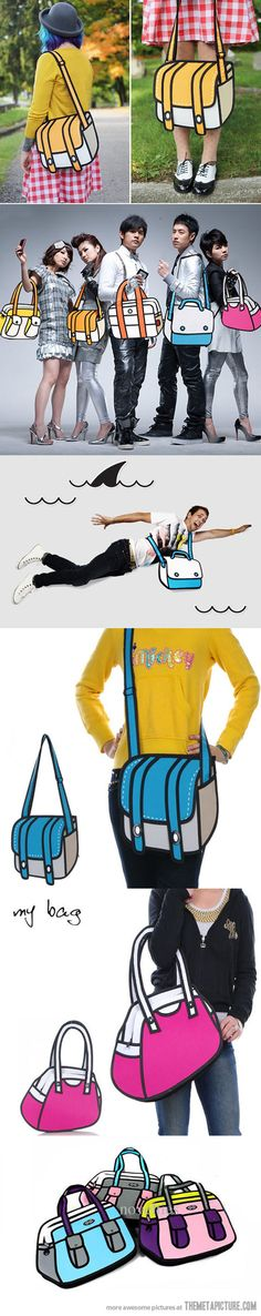 This bags will make you feel like you live in a cartoon world--I want one!  These are awesome!