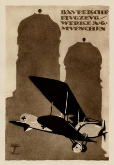 Bavarian Aircraft Works, Munich Ludwig, Aviation Art, Advertising Poster, Vintage Travel Posters, Book Cover Design, Portrait Art, Illustrations Posters, Retro, Concept Art