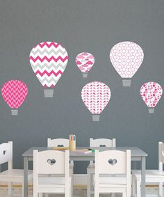 This Pink Hot-Air Balloon Wall Decal Set by Wallquotes.com by Belvedere Designs is perfect! #zulilyfinds