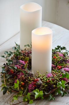 Candle Berry Wreath Centerpiece.