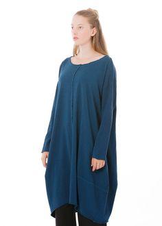 Kleid Alma von Elemente Clemente bei nobananas mode #nobananas #elementeclemente #dress #organic #cotton #round #long #pocket #wide #fit #blue #fw16