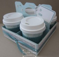 Mini Coffee Cup treat gift ideas featuring Stampin Up Merry Everything stamp set and All is calm DSP.