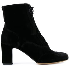 Tabitha Simmons 'Afton' lace-up ankle boots (19 165 UAH) ❤ liked on Polyvore featuring shoes, boots, ankle booties, black, black lace up booties, short boots, black boots, black ankle booties and black lace up boots