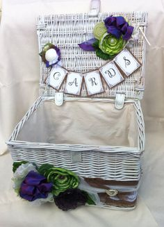 How adorable is this wedding card basket?! Shades of Green and Purple Shabby Chic by lifesjoyousmoments, $72.00