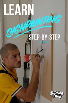 Join us for the latest lettering adventure! Gaston the painter is here to teach you step by step how to learn sign painting. This is a comprehensive guide for calligraphy and hand lettering beginners. Calligraphy Tutorial, Hand Lettering Tutorial, Calligraphy Letters, Creative Lettering, Lettering Styles, Brush Lettering, Creative Art, Creative Ideas, Painted Letters