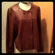 Banana Republic Brown Leather Jacket Banana Republic Brown Tumbled  Leather Jacket. Gorgeous! Two button closure, fully lined. 100% genuine leather. Super soft buttery leather. Banana Republic Jackets & Coats