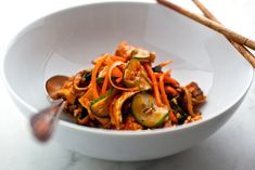 Bibimbap With Tofu, Cucumbers, Spinach, Shiitakes and Carrots: View this and hundreds of other vegetarian recipes in the New York Times Eat Well Recipe Finder. Spinach Stuffed Mushrooms, Stuffed Peppers, Bibimbap Recipe, Bibimbap Bowl, Tofu Marinade, Carrot Recipes, Spinach Recipes, Rice Recipes, Asian Recipes