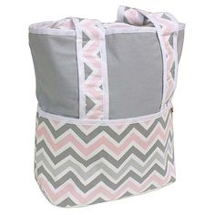 Hoohobbers Chevron Pink Tote Diaper Bag with Optional Personalization - 261-09