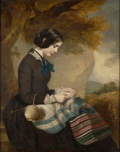 Mary Isabella Grant, Knitting a Shawl, c.1850-55