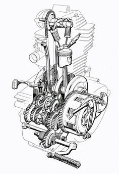Looks like an old Honda Technical Illustration, Technical Drawing, Motorcycle Engine, Motorcycle Art, Triumph Motorcycles, Cars And Motorcycles, Vintage Motorcycles, Logo Club, Motos Trial