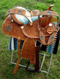 "15"" Western Barrel Show Pleasure LEATHER HORSE SADDLE Bridle Turquoise 5031"