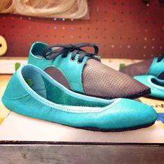 Custom Shoe of the Week: Ballerine Flats and Dash RunAmocs in Waikiki Blue! Handcrafted in Oregon.