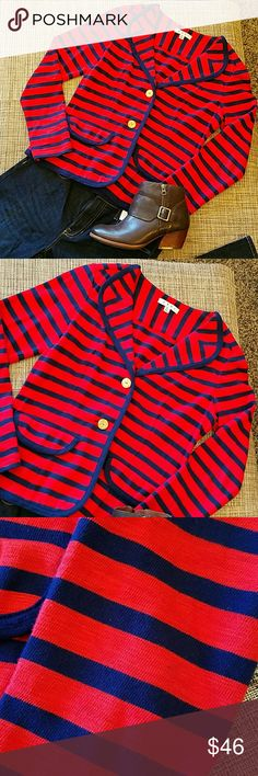 """Cabi jacket NWOT, NEW No Tags. Super cute knit jacket, nautica design, cotton fabric, 🔴🔴tiny spot on left sleeve on the back, very hard to capture on pic since is that small (third pic). Very flattering due to the cut. Faux pockets. Length 22.5"""", bust 18"""", waist 15.5"""" . It could work for a size 6 I would say CAbi Tops"""