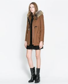 Image 1 of DUFFLE COAT WITH FUR HOOD from Zara