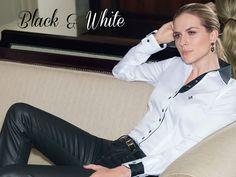 Black et White! Sempre atenta aos detalhes, o preto e branco da DUDALINA está presente desde os composés da gola e vista até no punho com abotoadura dupla! Belíssimo!exclusividade e originalidade #casualdenovamutum