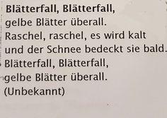 Herbstreim/Lied #herbst #kindergarten #kita #song #erziehung #musik #kinderlied #kind #erzieherin Verse, German, Math Equations, Teaching, Baby, Poems For Children, Nursery Rhymes, Lyrics, Day Care