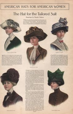 Edwardian Fashion Hat Print for Women from The Ladies Home Journal September, 1911 (Digital Image). Thank you, Etsy. Victorian Hats, Edwardian Era, Edwardian Fashion, Vintage Fashion, Vintage Couture, Historical Costume, Historical Clothing, 1900 Clothing, Edwardian Clothing