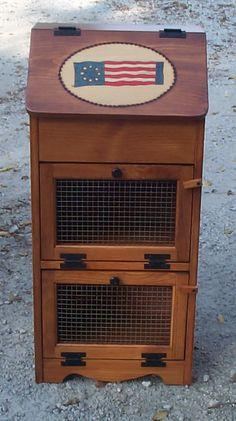 Image Detail for - Amish Built Bread Box Vegetable Bin Potato Onion Flag Vegetable Storage Bin, Vegetable Bin, Amish Furniture, Painted Furniture, Dyi Crafts, Wood Crafts, Potato And Onion Bin, Bread Boxes, Woodworking Classes