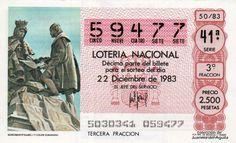 Décimo de Lotería de Navidad del año 1983 - MONUMENTO ISABEL I Y COLON (GRANADA)