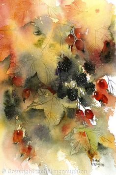 rachel mcnaughton painting Beautiful abstract autumn painting - berries and leaves watercolour on paper Watercolor Negative Painting, Watercolor Fruit, Fruit Painting, Autumn Painting, Autumn Art, Abstract Watercolor, Watercolor Illustration, Watercolor Flowers, Watercolor Inspiration