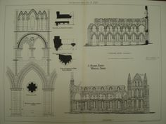 St. Hilda's Abbey , Whitby, York, England, UK Unknown, architect(s). From the American Architect and Building News, July 2, 1880. 12.25 by 16.25 inches. VG+ condition with light browning along the edg