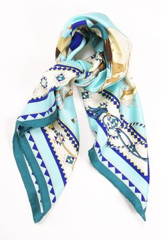 I love the colours in this scarf, and the soft silk texture. Ways To Wear A Scarf, How To Wear Scarves, Pocket Squares, Bandanas, Silk Scarves, Hermes Scarves, Scarf Design, Color Azul, Beautiful Outfits