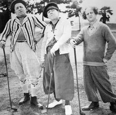 The Three Stooges, dressed in golfing attire, posing with golf clubs on a golf course. Left to right: Curly Howard , Moe Howard and Larry Fine . Get premium, high resolution news photos at Getty Images The Three Stooges, The Stooges, Classic Golf, Classic Tv, Classic Films, Classic Hollywood, Old Hollywood, Hollywood Stars, Golf With Friends